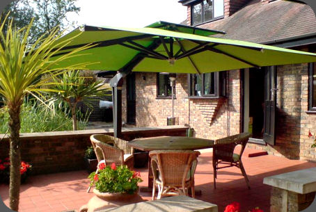 patio umbrellas have some built in batteries that can be recharged during day time and is helpful at night for not only your large