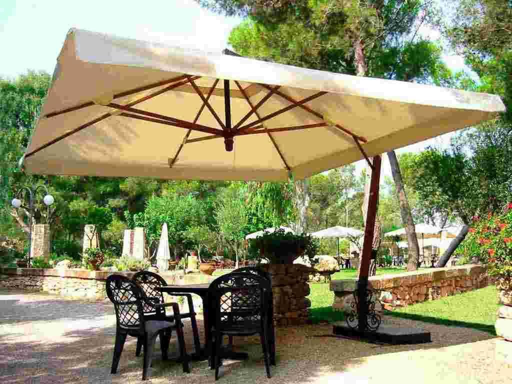 Large patio umbrellas in square shape