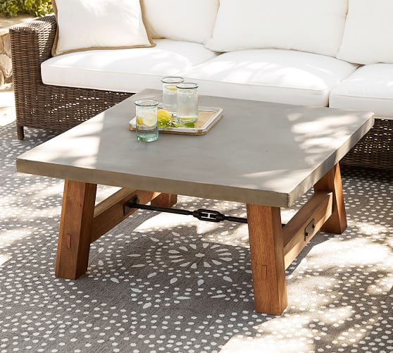 Place stylish and light weighted outdoor coffee table in outdoor space