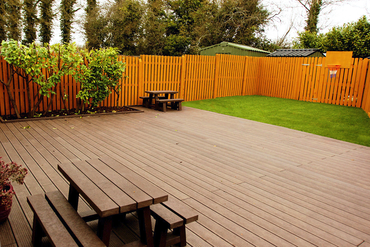 Excellent outdoor decking for playing and relaxation