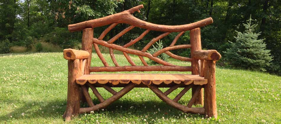 Rustic garden furniture for an inexpensive but artistic garden design