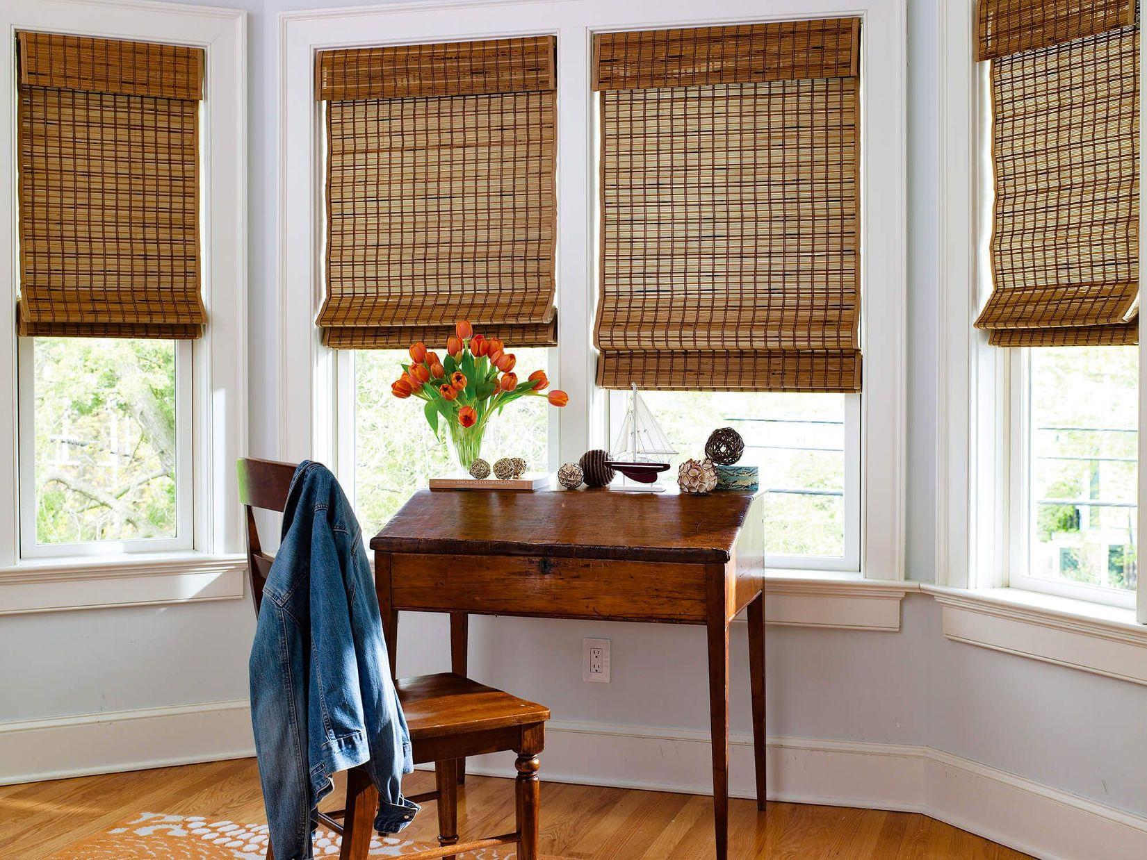 Enjoy the elegant woven wood shades