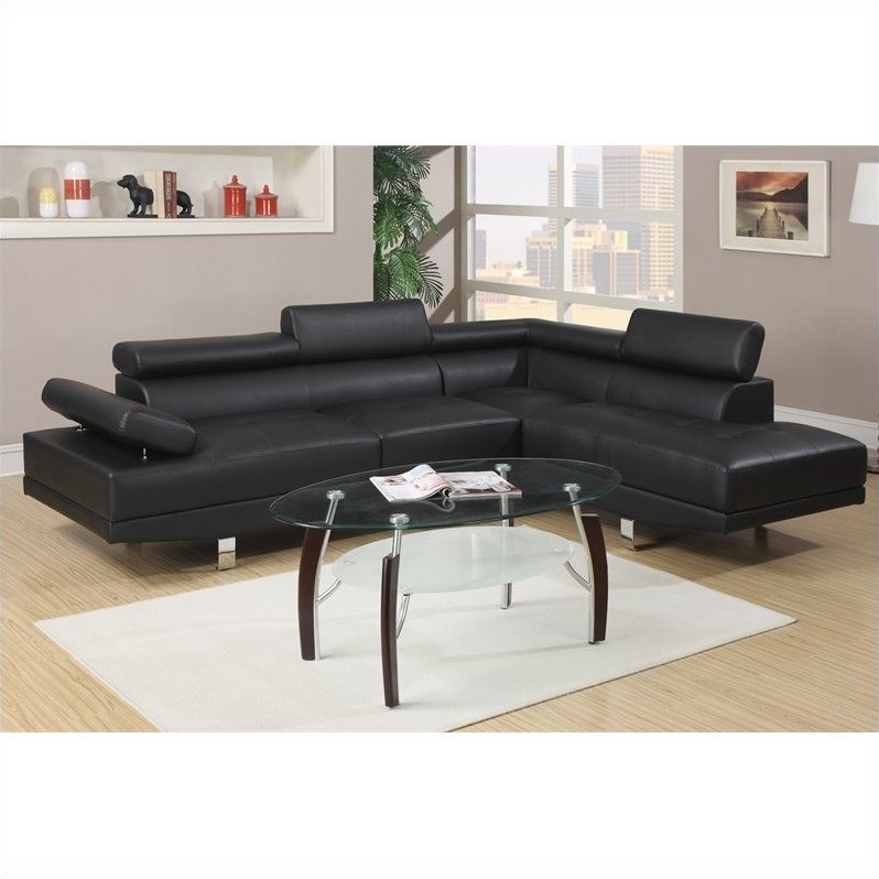Bobkona Atlantic Faux Leather 2-Piece Sectional Sofa with Functional
