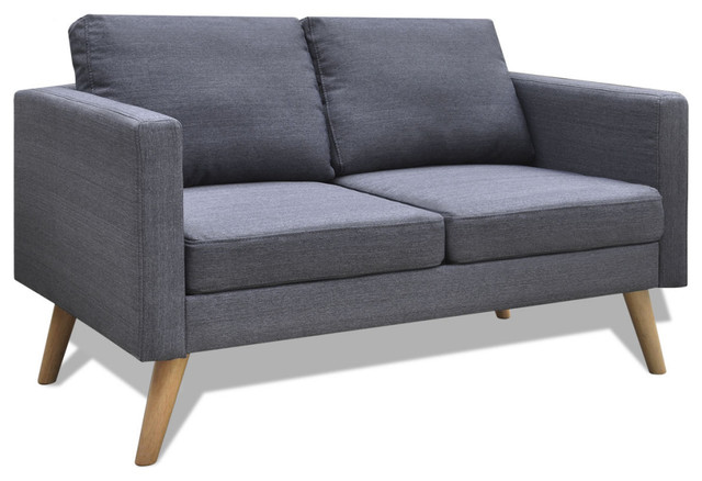 VidaXL 2-Seater Sofa Fabric, Dark Gray - Midcentury - Sofas - by vidaXL