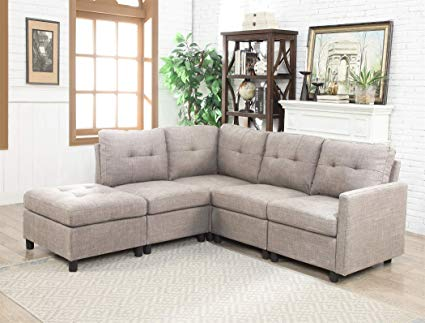 Amazon.com: Modular 5-Piece Sectional Sofa Chaise Linen Fabric