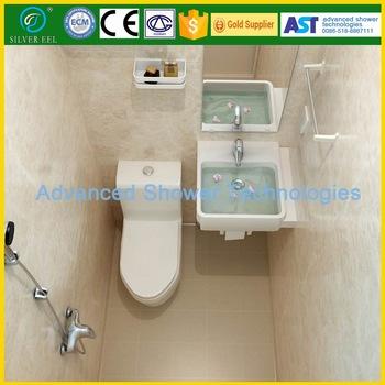 All In One Prefab Bathroom Unit With Shower Head Toilet Mirror Led