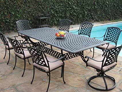 Amazon.com: Cast Aluminum Outdoor Patio Furniture 9 Piece Extension