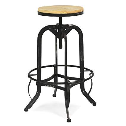 Amazon.com: Vintage Bar Stool Industrial Metal Design Wood Top