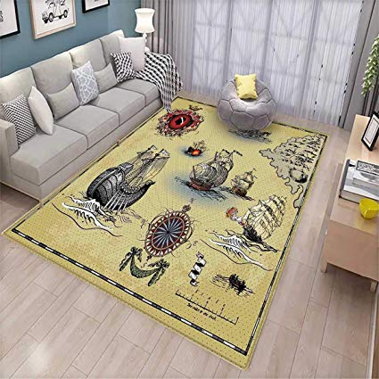Amazon.com: Compass Girls Bedroom Rug Antique Old Plan Discovery