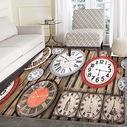 Amazon.com: Clock Area Rug Carpet Antique Clocks on the Wall
