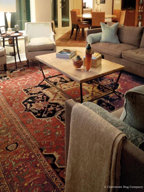 Folk Art Antique Serapi Carpet in Living Room with Contemporary Design