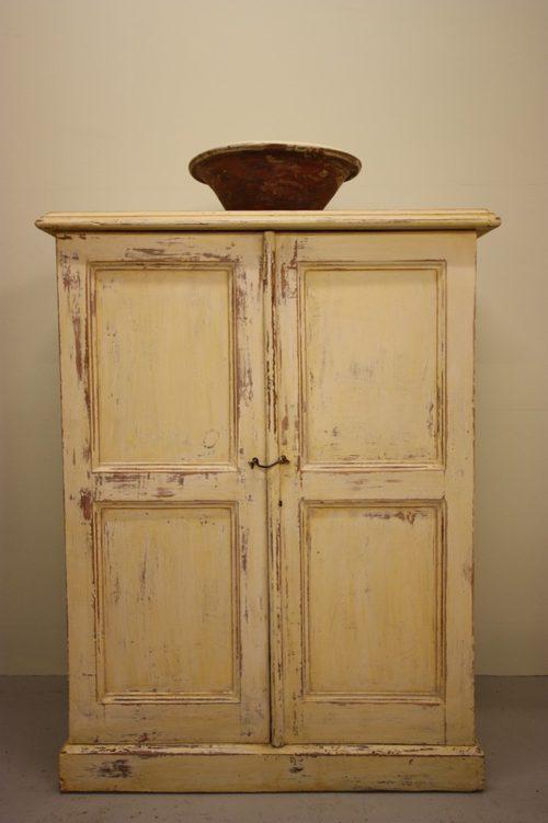 Antique Painted Pine Two Door Cupboard. - Antiques Atlas