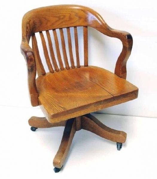 Antique Oak Swivel Desk Chair Old Solid Wood Swivel Desk Chair | 16