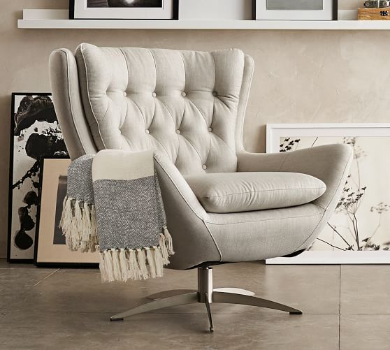 Wells Upholstered Swivel Armchair | Pottery Barn