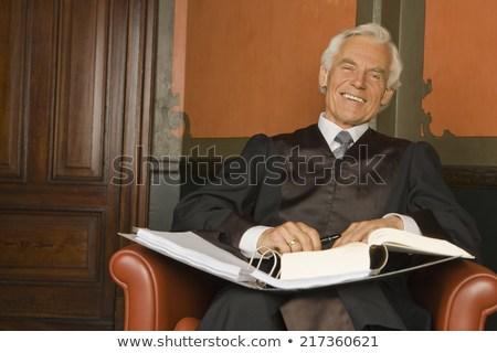 Portrait Lawyer Sitting Armchair Smiling Stock Photo (Edit Now