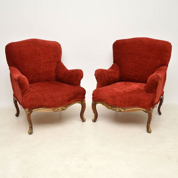 Pair of Antique Rosewood Upholstered Armchairs (1830 to 1840