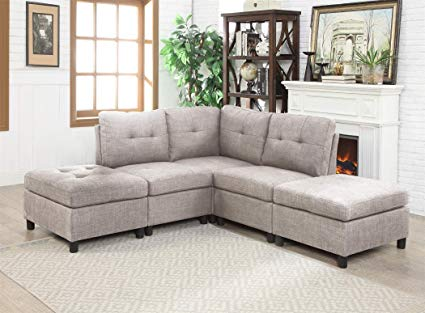 Amazon.com: Modular 5-Piece Sectional Sofa Corner Armless Chaise