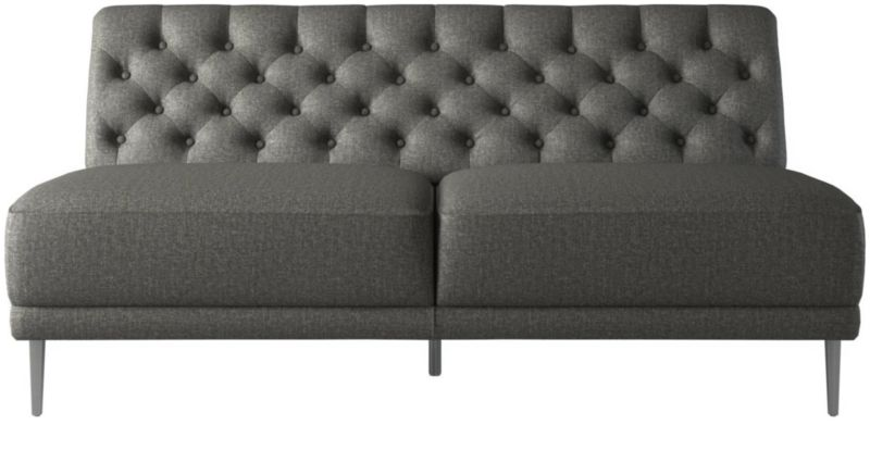 Savile Gris Tufted Armless Sofa + Reviews | CB2