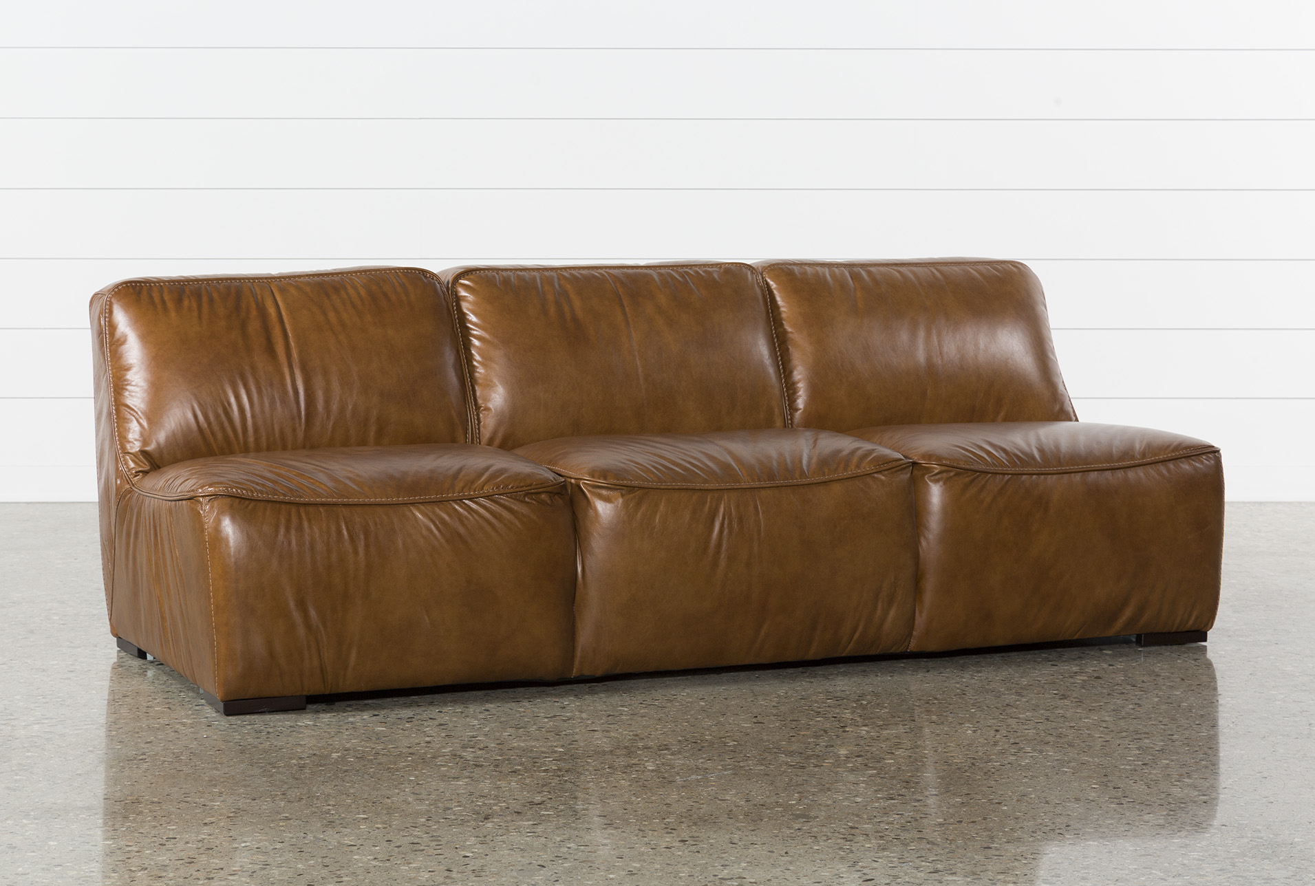 Burton Leather Armless Sofa | Living Spaces