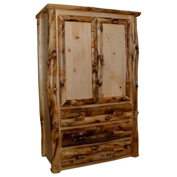 Shop Rustic Aspen Log Armoire 2 Doors and 3 Drawers - Free Shipping