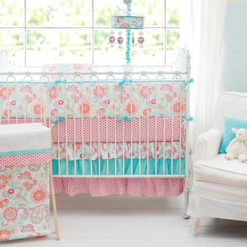 Paisley Crib Bedding | Aqua Baby bedding | Paisley Baby Bedding