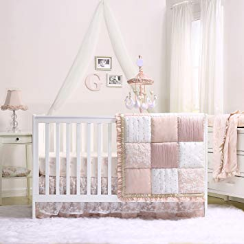 Amazon.com : Grace 7 Piece Baby Girl Dusty Pink Crib Bedding Set by