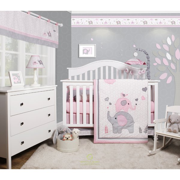 Harriet Bee Cheatwood Elephant Baby Girl Nursery 6 Piece Crib
