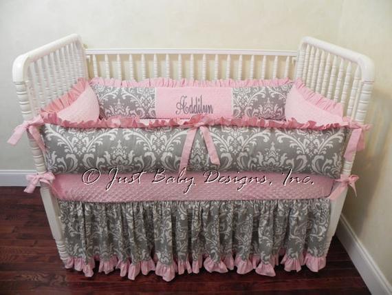 Baby Girl Crib Bedding Set Addilyn Girl Baby Bedding Pink   Etsy