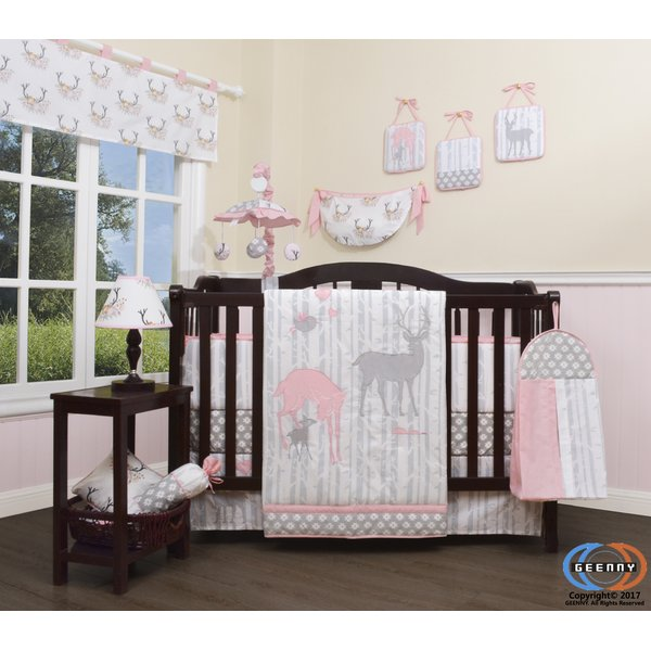 Harriet Bee Three Lakes Baby Girl Deer Family Nursery 13 Piece Crib