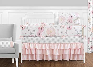 Amazon.com : Sweet Jojo Designs 9-Piece Blush Pink, Grey and White