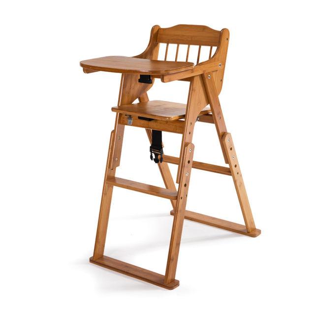 Baby High Chair Bamboo Stool Infant Feeding Children Toddler