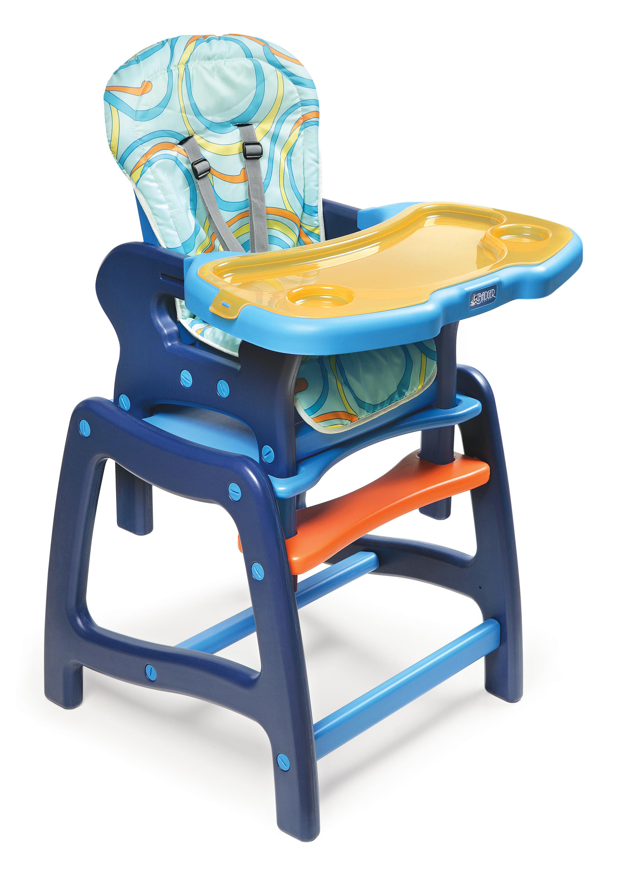 Badger Basket Envee Baby High Chair with Playtable Conversion, Blue