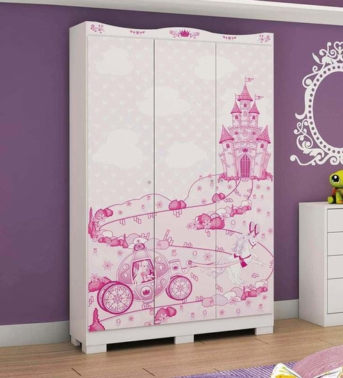 Buy McCindy Three Door Wardrobe in Baby Pink Colour by Mollycoddle