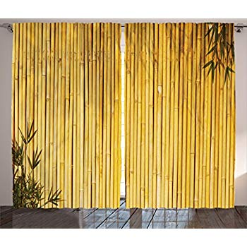 Amazon.com: Ambesonne Bamboo Decor Curtains, Tall Bamboo Stems and