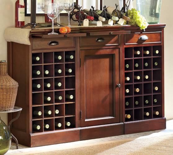 Modular Bar Buffet with 2 Wine Grid Bases & 1 Cabinet Base | Pottery
