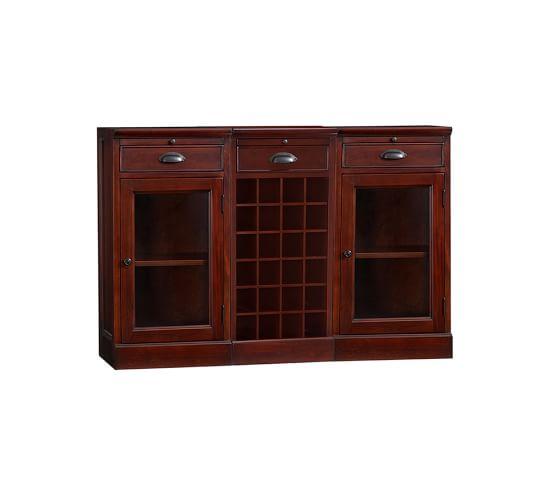 Modular Bar Buffet with 2 Glass Door Bases & 1 Wine Grid Base