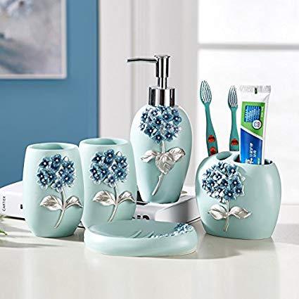 Amazon.com: Resin Bathroom Accessories Set, 5 Piece Bath Ensemble