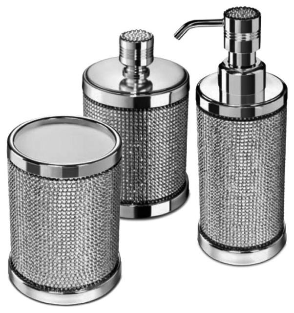 Starlight Bathroom Accessories Set With Swarovski, 3 Piece