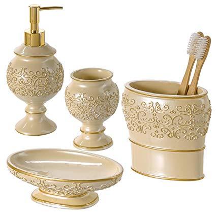 Amazon.com: Creative Scents Shannon Bathroom Accessories Set, 4