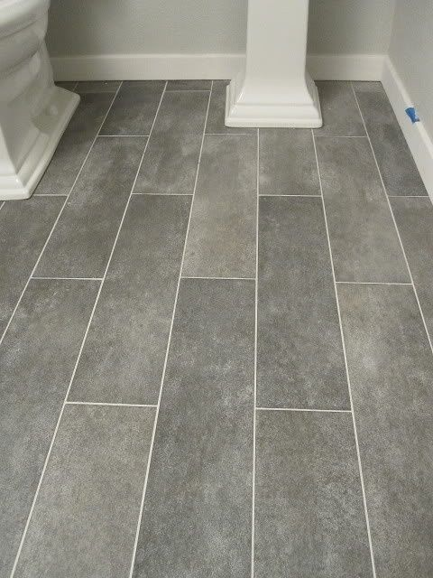 Wide plank tile for bathroom. Great grey color! Great option if you
