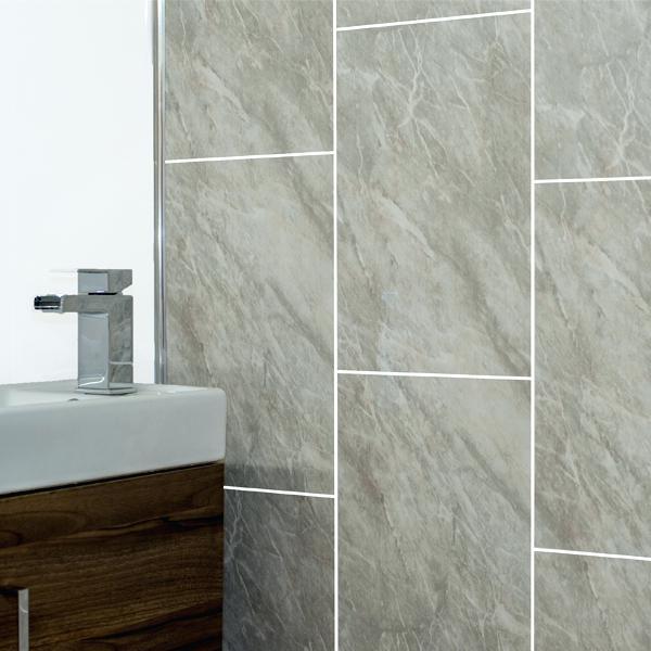 Panel Bathroom Grey Marble Tile Groove Bathroom Panels Shower Wet