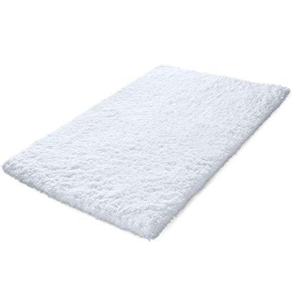 Amazon.com: KMAT 32x47 Inch Large Luxury White Bath Mat Soft Shaggy