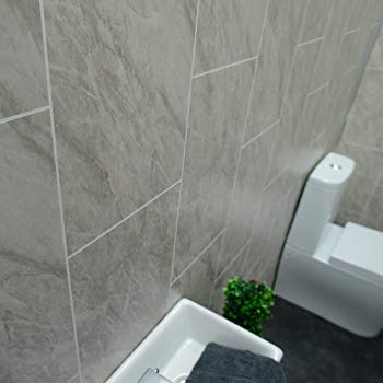 Claddtech Grey Marble Bathroom Wall Panels Tile Effect cladding Used