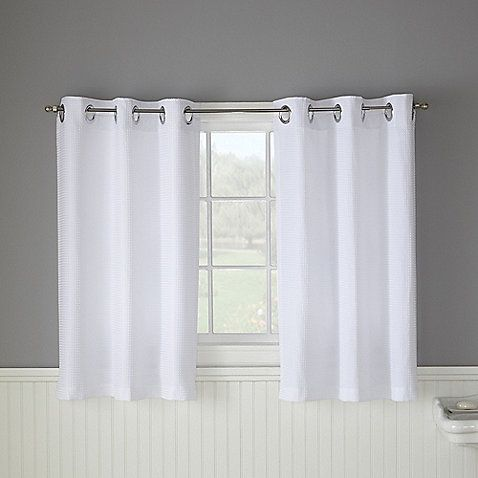 Hookless® Waffle White Bathroom Window Curtain Pair (for the