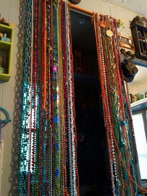 Beaded curtain.diy Mardi gras beads curtain rodtime, still