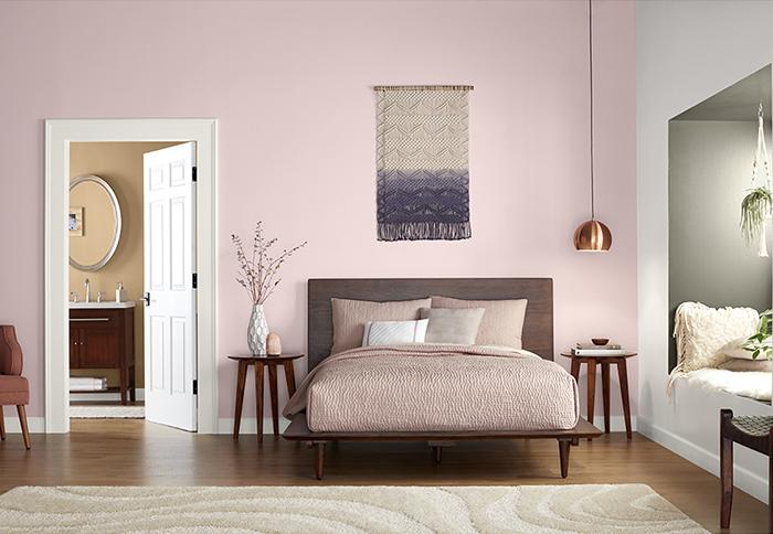 pink boho chic bedroom