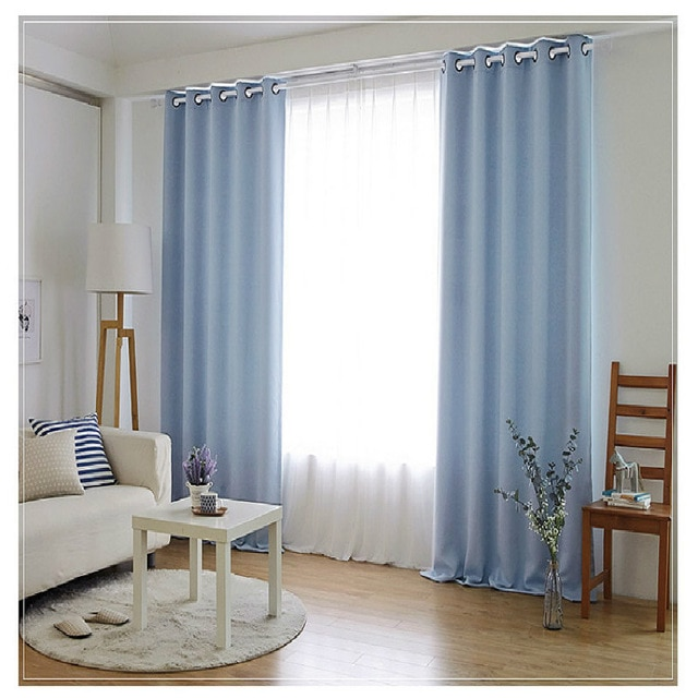 Bedroom Curtains simple solid color custom finished curtain shade
