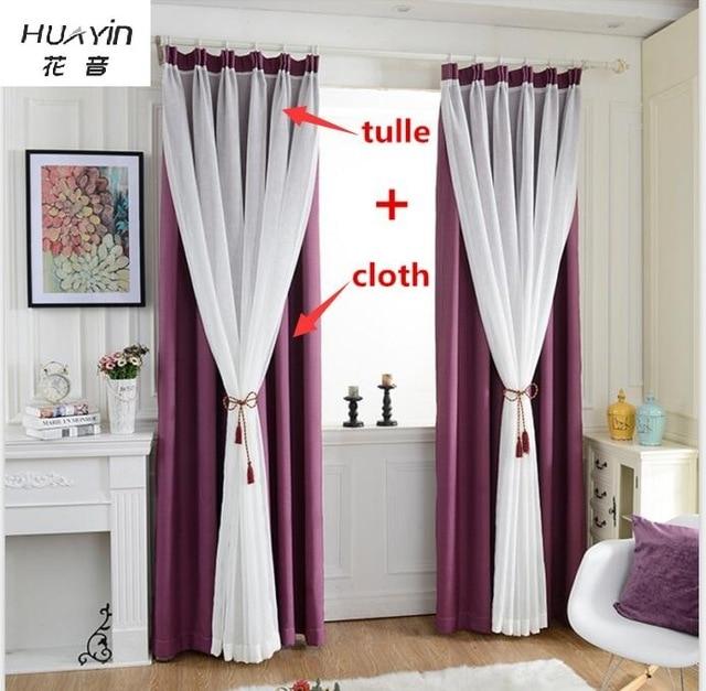 HUAYIN Velvet Linen Curtains+ tulle Window Curtain For Bedroom