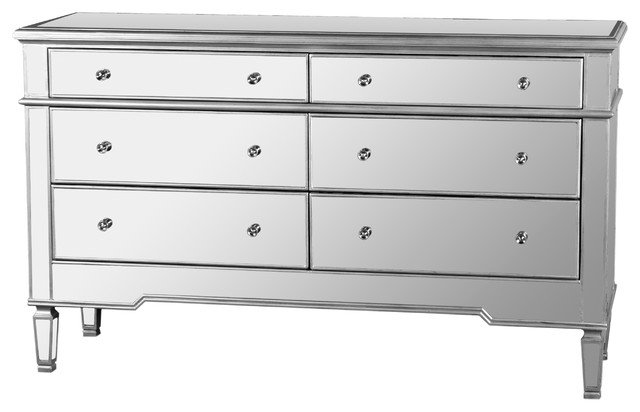Nicolette Bedroom 6-Drawer Dresser, Mirrored Finish - Contemporary