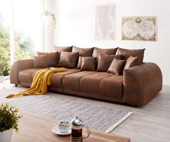Big-Sofa Violetta 310x135 cm Braun Antik Optik mit Kissen Möbel